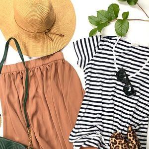 Zara vneck tee and Mango stretch waist skirt set
